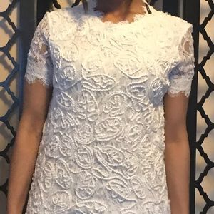 White short sleeve Zara dress with lace work
